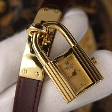 Authentic Hermes Kelly Yellow Gold Dial Gold Plated Quartz Ladies Wrist Watch