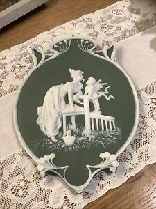 Lovely Green Vintage Porcelain Wall Hanging Plaque-Cherubs