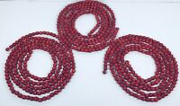 Vintage Dark Red Wooden Christmas Beads Garland - 3 X 9 Ft = 27 Total Feet