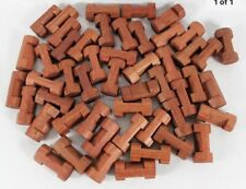 """Lincoln Logs Single 1 Notch Lot of 50 Pieces Reddish Brown 1.5"""" Long Wood"""