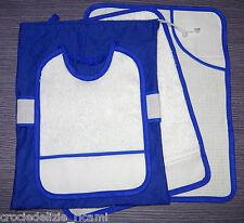 Set asilo 4 pezzi bluette da ricamare tovaglietta bavaglino asciugamano sacca