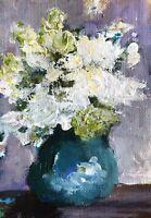 "Original Aceo ATC Acrylic Painting ""Meditation"" Floral Art Card Signed FREE SHIP"