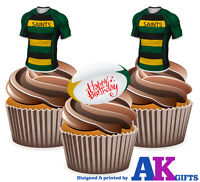 PRECUT Northampton Saints Happy Birthday 12 Edible Cupcake Toppers Decorations