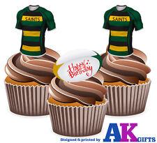 PRECUT Northampton Saints Happy Birthday 12 Edible Cupcake Toppers Decorations