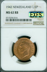 1942 NEW ZEALAND HALF PENNY NGC MS62 RB MAC EXFS OR EXCETIONAL 1ST STRIKE .