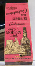 Rare Vintage Red Matchbook Cover Guckenheimer Whiskey Modern Drink Liquor A3