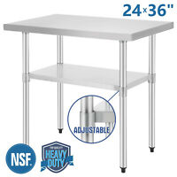"""24""""x36"""" Commercial Stainless Steel Heavy Duty Food Prep Work Table Kitchen NSF"""