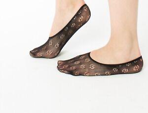 1 Paar Feinstrümpfe Blumen Motiv Socken Sockchen Feinsöckchen Füßlinge Knöchel
