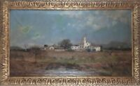 RURAL LANDSCAPE. OIL ON CANVAS. SIGNED A. TOLOSA WITH DEDICATION. CIRCA 1890.