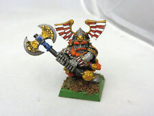 Warhammer Dwarfs Lord thane Champion  oop metal painted w/ great weapon
