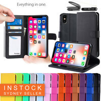 For Apple iPhone X XR XS Max  Premium Leather Wallet Purse TPU JELLY Case Cover