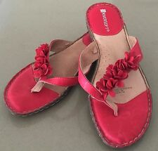 NEW Gorgeous Comfy Red RIVERSOFT (Rivers) Slides/Thongs w Floral Detail Size 39