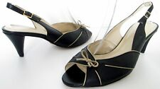 VAN DAL SIZE 5.5 WOMENS BLACK GOLD LEATHER SLINGBACKS PEEPTOES COURT SHOES HEELS