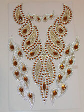 topaz GOLD & clear crystal HOTFIX  diamonte YOKE chest applique motif costume