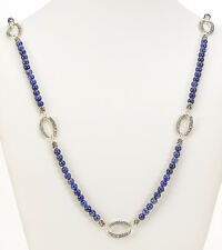 "Michael Dawkins Sodalite Beads Sterling Silver 36"" Long Necklace"