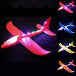 LED Airplane Toy Light Up Glider Large Throwing Foam Plane 2 Flight Mode 3 Pack