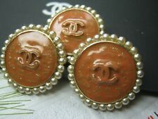 CHANEL 3 TANGERINE CC LOGO FRONT COLOR PEARLS  20 MM /  3/4 '' NEW LOT 3