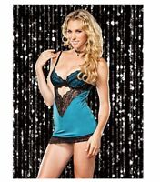 iCollection Women's Lace Overlay Spandex Chemise and G-String, Teal Blue, Small