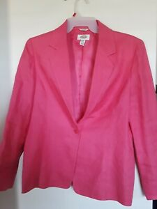 Talbots Women's Size 14 Coral  Blazer Jacket Irish Linen Lined