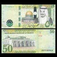 Saudi Arabia 50 Riyals, 2016, P-NEW, A Prefix, NEW DESIGN, UNC