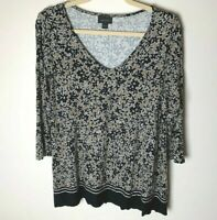 J. Jill Women's Top Size Small 3/4 Sleeves V-Neck Floral Casual Work Career