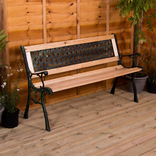 More details for garden bench cross 3 seater wooden outdoor patio park seating furniture seat