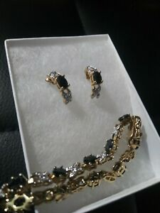 "7.5"" Sapphire Tennis Bracelet & Earrings Diamond Accent Gold Over Sterling Plate"