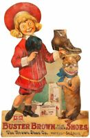 BUSTER BROWN & DOG BLUE RIBBON SHOES HEAVY DUTY USA MADE METAL ADVERTISING SIGN