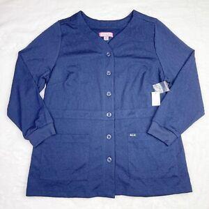 Koi Claire Womens Size 2X Navy Scrub Jacket Button Front #440 NWT Cardigan Coat