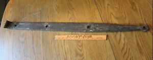 1 Rusty Wrought iron hinge strap barn decor Vintage Antique hand wrought 38.5""