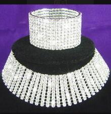 "10 ROWS DANCER Stripper DRAG QUEEN RHINESTONE NECKLACE Choker and Bracelet 6"""