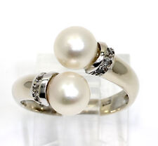 Vintage twin pearl ring 18K white gold round brilliant cubic zirconia 7 MM .10CT