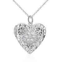 Öffnen Filigran Star Liebe Herz Foto Medaillon Anhänger Halskette