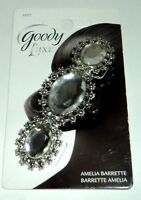 GOODY Luxe Silver Tone & 3 Gem Amelia Barrette New On Card