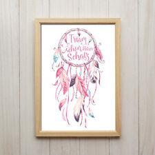 Bild Traumfänger Spruch Boho-Chic Kunstdruck A4 Hippie Feder Bohemian Vintage