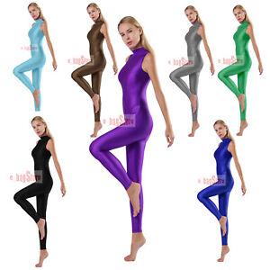 Women's Sexy Tracksuits Shiny Bodysuit Jumpsuit Yoga Latin Fitness Tights Slim