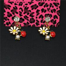 Betsey Johnson Women Stand Earrings White Enamel Cute Flower Beetle Crystal