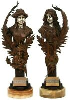 CARL KAUBA (AUSTRIAN, 1865-1922) PAIR OF BRONZE FIGURAL FEMALE BUSTS