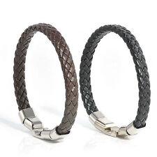 Vintage Knitted Men Black Unique Bracelet Bangles Leather Magnetic Clasp