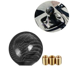 Car Accessories Gear Shift Knob Round Ball Shape Black Carbon Fiber Adapters Kit