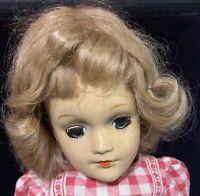 """Mary Hoyer 14 - 15"""" Composition Vintage 1930s 40s Doll Mohair Wig Blue Sleep Eye"""