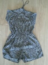 BNWT SIZE 10 BLACK AND CREAM PATTERNED HALTER NECK PLAYSUIT