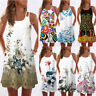 Women Summer Loose Vintage Sleeveless 3D Floral Print Bohe Tank Short Mini Dress