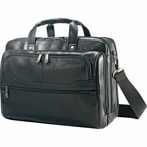 "NEW Samsonite 50791-1041 Durham Leather 2 Pocket Briefcase BLACK 15.6"" Laptop"