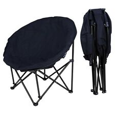Large Black Folding Moon Chair Round Furniture Dorm Bedroom Lounge Padded Seat