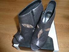Little Mistress Size 8 (41) Peep Toe Shoe Boot. Black Glitter New In Box.