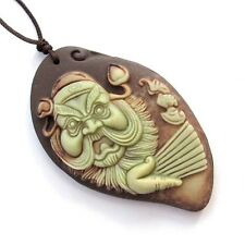 One Bead-Two Layer Natural Stone Lucky Zhong Kui Zhongkui Bat Amulet Pendant
