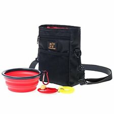 WoofWoof Dog Treat Training Pouch Bag -Collapsible Travel Food Water Dog Bowl -