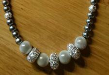 Halskette Perlenkette silber/grau STRASS