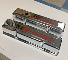 SBC Chevy VALVE COVERS CHROME STEEL CHEVROLET RED  Valve Covers - 383 350 327
